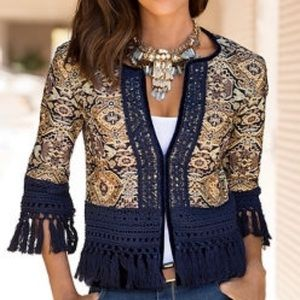 Boston proper blue & gold tapestry tassel jacket